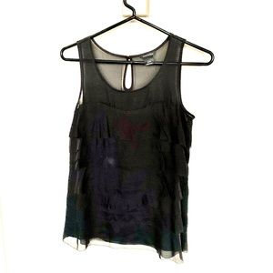 Club Monaco Sheer Tiered Black Silk Top XS